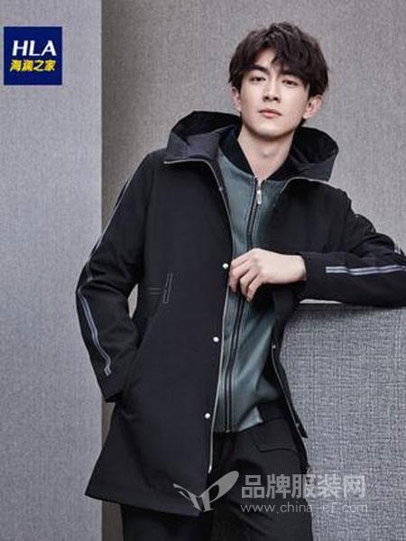 海澜之家男装2018秋冬连帽中长款夹克新品舒适透气外套