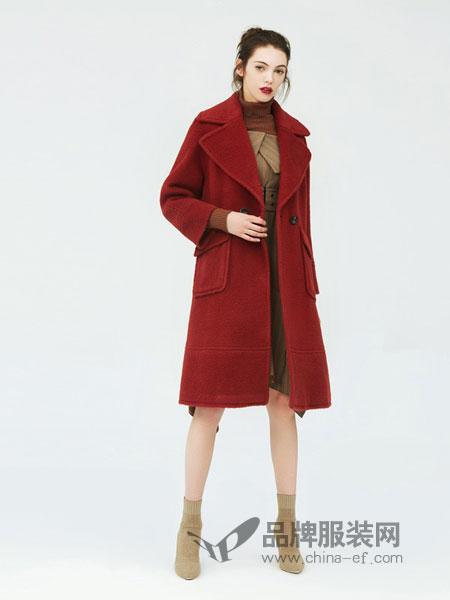 赫斯特女装2018秋冬红色高端双排扣毛呢外套