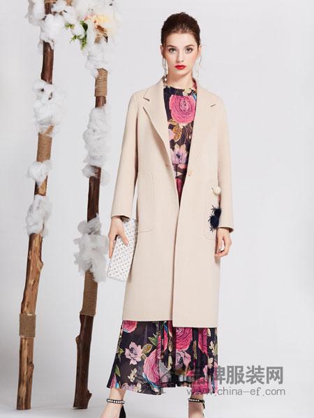 秀蓓儿女装2018秋季新款中长款羊毛呢子大衣印花双面尼系带收腰毛呢外套