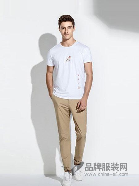 迪尔马奇男装2018春夏圆领短袖T恤体恤男装半袖修身