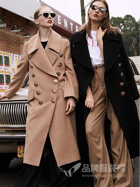 玛娃女装2018秋冬新款直筒长袖双面羊毛大衣女长款双排扣呢子外套