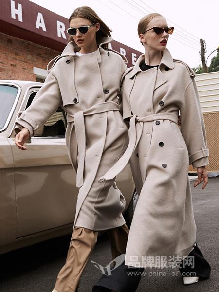 玛娃女装2018秋冬新款加厚羊毛呢子外套超长款
