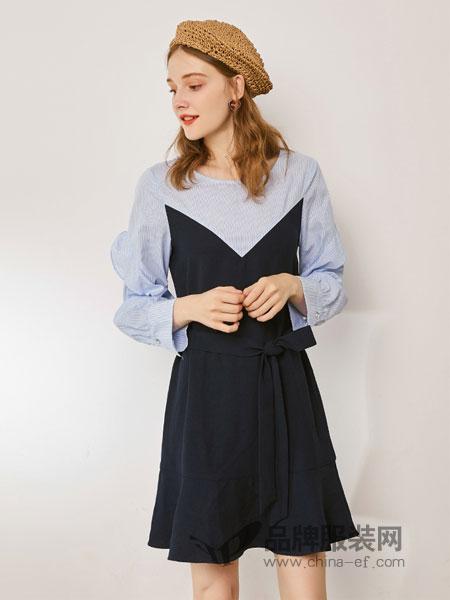 夺宝奇兵女装2018秋季新款韩版通勤荷叶边中长款气质长袖裙