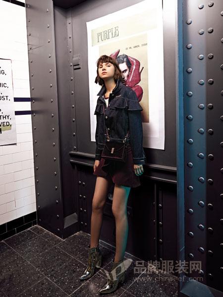 卡尼欧女装2018秋冬上衣修身显瘦系带半身裙牛仔两件套装