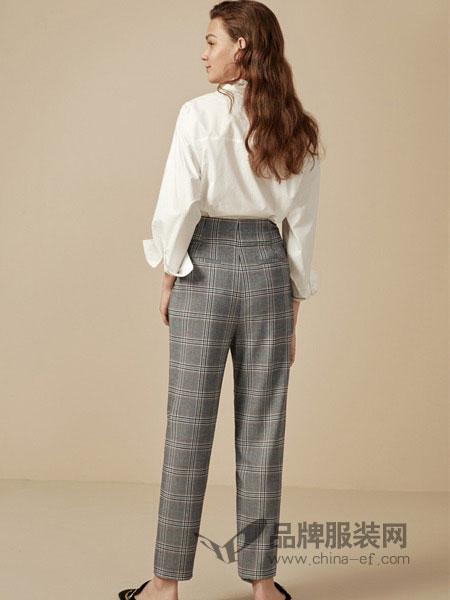 布莎卡女装2018秋季韩版新款复古格子宽松铅笔裤灰色长裤休闲裤