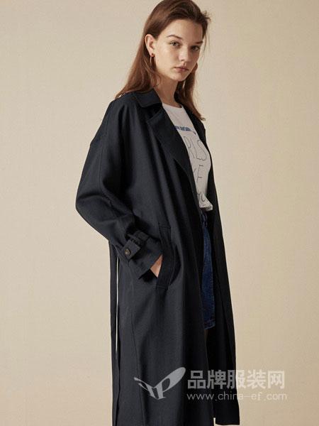布莎卡女装2018秋季新款韩版直筒工装黑色系带过膝长款风衣