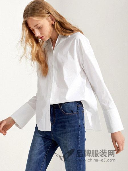 布莎卡女装2018秋季衬衣宽松简约长袖气质白衬衫女韩范