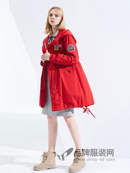 波司登羽绒服2018秋冬新款风衣外套女中长款韩版宽松红色大衣