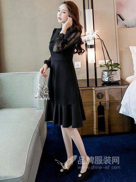 芊妃美女装2018秋冬新款韩版修身显瘦中长款黑色裙子成熟气质