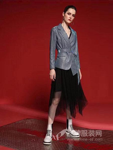 艾芮朵女装2018秋冬复古宽松休闲灰蓝色小西装女式收腰系带西服外套