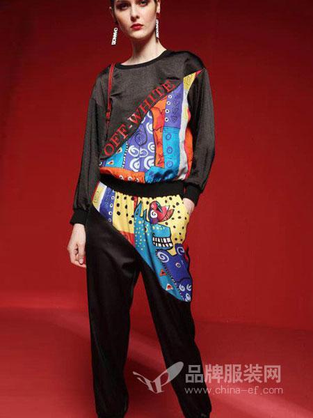 艾芮朵女装2018秋冬套头时尚印花前短后长拼接女上衣