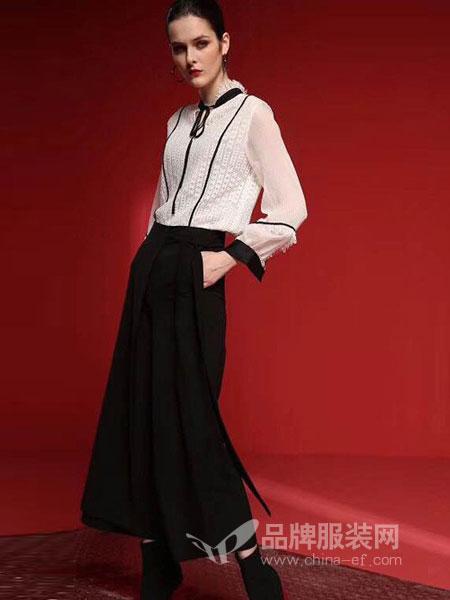 艾芮朵女装2018秋冬立领镂空蕾丝上衣时尚宽松长袖雪纺衫