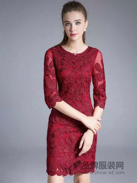 东方贵族女装2018秋季修身显瘦打底包臀连衣裙五分袖圆.