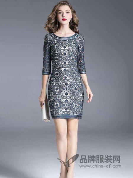 东方贵族女装2018秋季新款优雅气质七分袖修身显瘦包臀裙