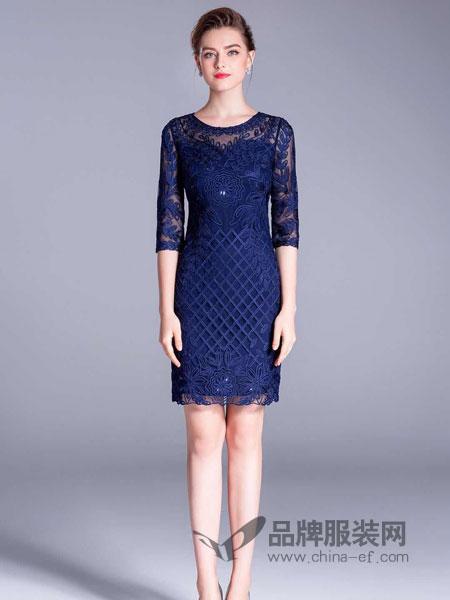 东方贵族女装2018秋季新款网纱刺绣盘花修身包臀裙