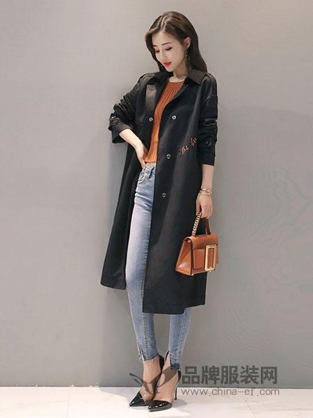 诺诗琪女装2018春夏刺绣字母系腰带外套长袖宽松长款风衣黑色