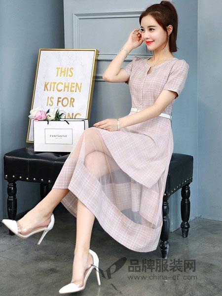 诺诗琪女装2018春夏显高小个子直筒御姐范连衣裙