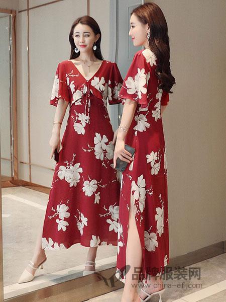 诺诗琪女装2018春夏新款韩版中长款百搭气质长裙连衣裙印花雪纺修身显瘦