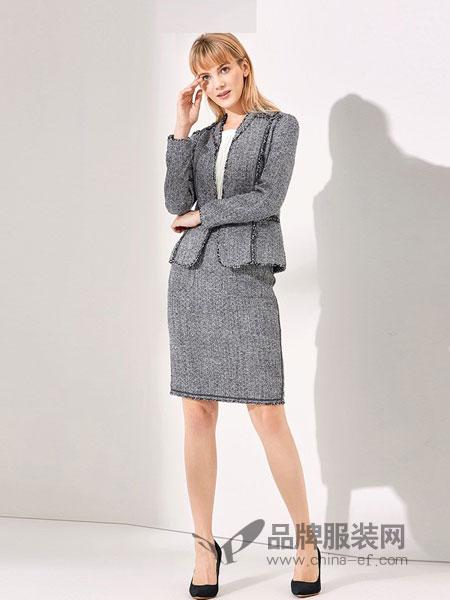 NAERSI(娜尔思)女装2018秋冬新款时尚职业修身粗花呢名媛外套