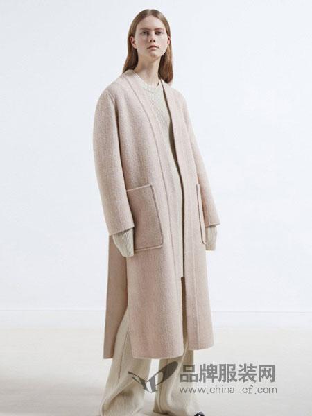 摩登瑞尔女装2018秋冬新款甜美百搭纯色连帽插袋开叉毛呢中长款外套