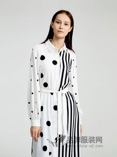 圣可尼女装2018秋冬条纹长款衬衫 重磅真丝廓形宽松款连衣裙