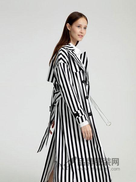 圣可尼女装2018秋冬新款女长袖中长款收腰衬衫裙潮