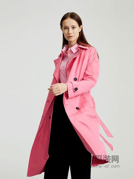 圣可尼女装2018秋冬翻领帅气纯色中长款风衣宽松长袖外套