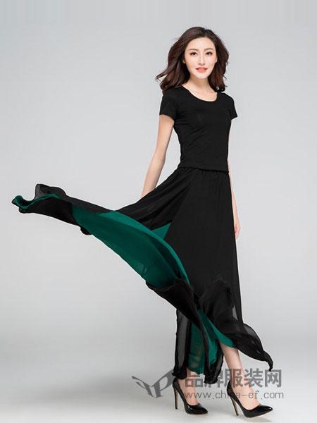 蕗依女装2018春夏雪纺沙滩裙舞裙开叉性感拖地半身长裙
