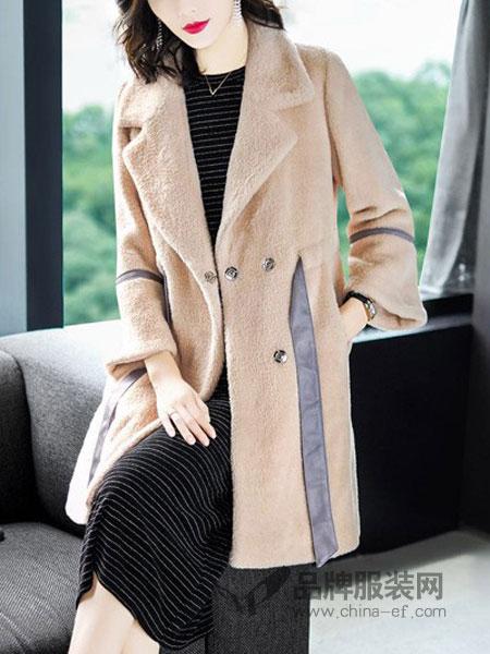 潮越女装2018秋冬外套女中长款海宁水貂毛羊毛一体颗粒羊毛大衣