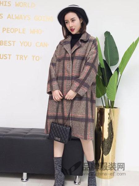 潮越女装2018秋冬新款中长款廓形翻领羊毛呢子大衣廓形