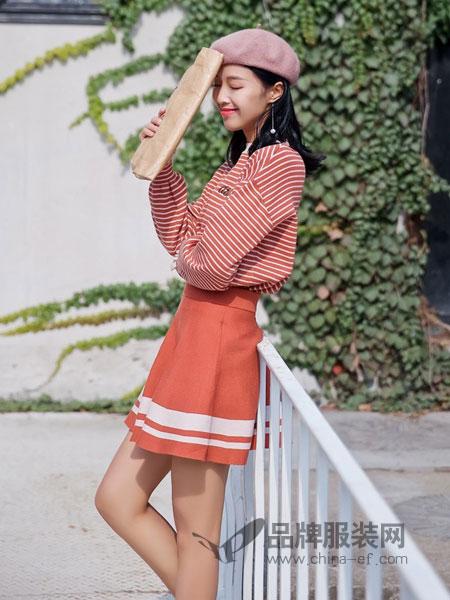COCOTDZZY女装2018秋冬针织荷叶袖条纹百褶短裙两件套装