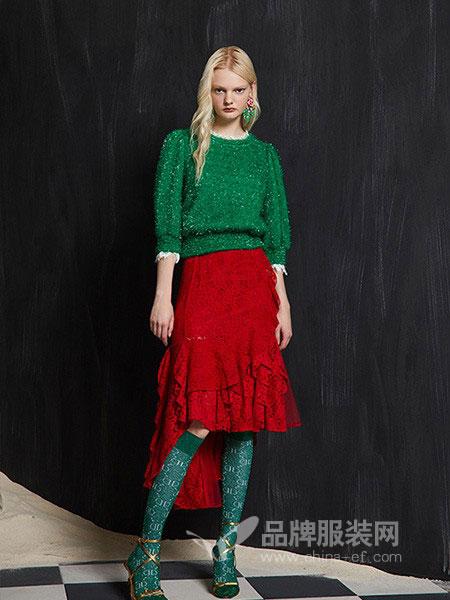 迪骊DILI女装2018秋冬圆领透空宽松长袖时尚个性针织衫