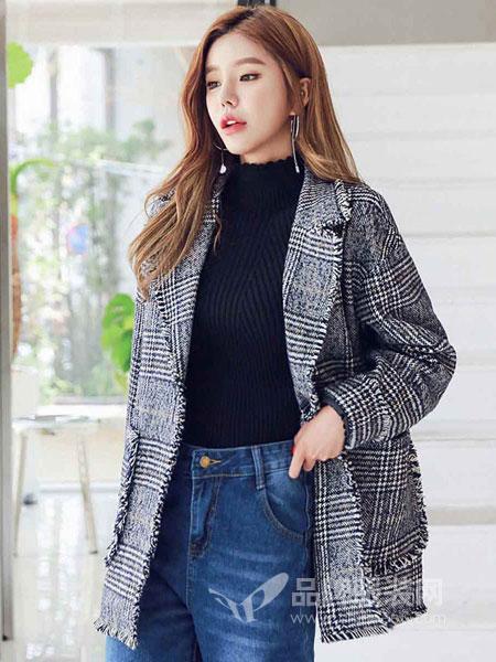 搜美女装2018秋冬新款格子宽松薄款休闲外套西装