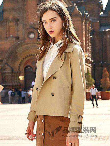 搜美女装2018秋冬长袖外套女英伦风短款宽松双排扣风衣