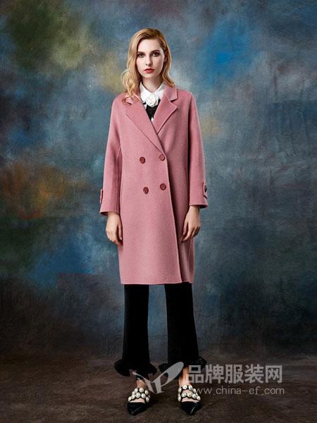TITI女装2018秋冬羊驼绒粉色过膝双排扣街拍双面尼外套大衣