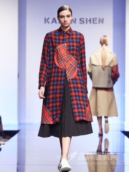 凯伦诗女装2018秋冬新款羊绒潮流宽松中长款双面呢子外套