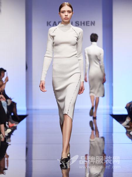 凯伦诗女装2018秋冬针织长袖连手套保暖开叉大码包臀打底裙