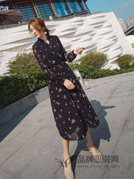 Scarlet斯珈妮女装2018春夏收腰显瘦印花裙子长袖气质V领雪纺连衣裙