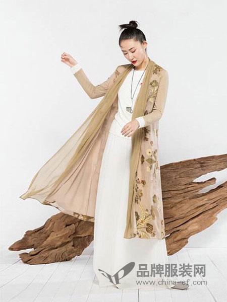 MOING莫名女装2018秋冬两件套连衣裙文艺复古雪纺套装长裙