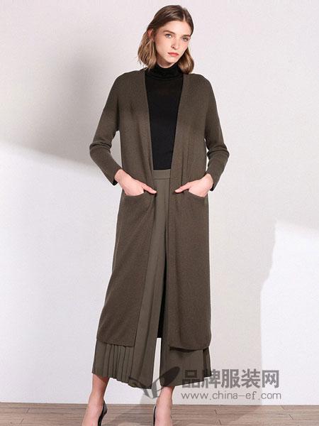 丽莫女装2018秋冬新款针织开衫外套含羊毛不规则织纹拼接廓形