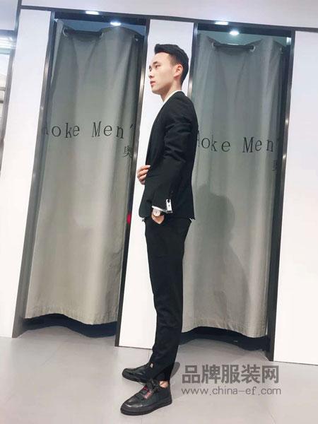 奥克男装2018秋冬修身休闲西服套装潮流韩版时尚西装两件套