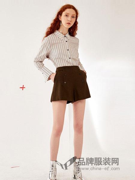 乔娜安达女装2018秋冬新款 复古宽松纯棉条纹衬衫上衣