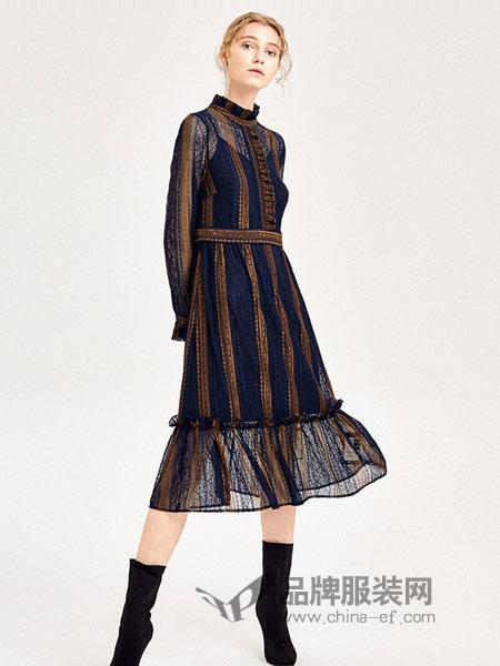 乔娜安达女装2018秋冬新款 撞色雪纺长袖连衣裙中长裙
