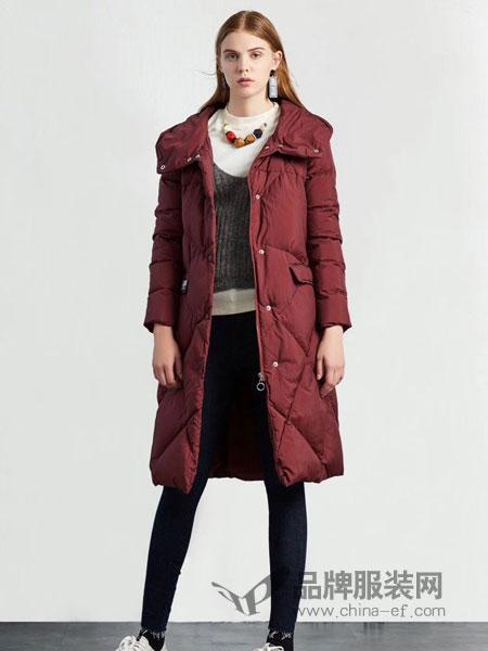 季歌品牌折扣女装女装2018冬季新款女装修身大码中长款外套显瘦连帽羽绒服