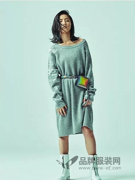 m.tsubomi女装2018秋冬款宽松中长款开叉长袖外搭