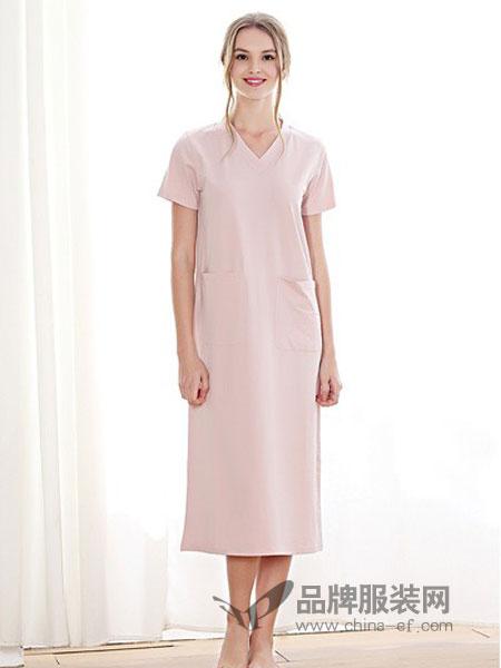 蒙赛尔内衣2018春夏优雅针织纯棉长款可外穿短袖睡裙