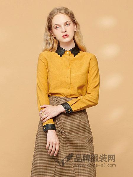森林鸟女装2018秋冬新品简约V领衫纯色宽松长袖衬衫上衣