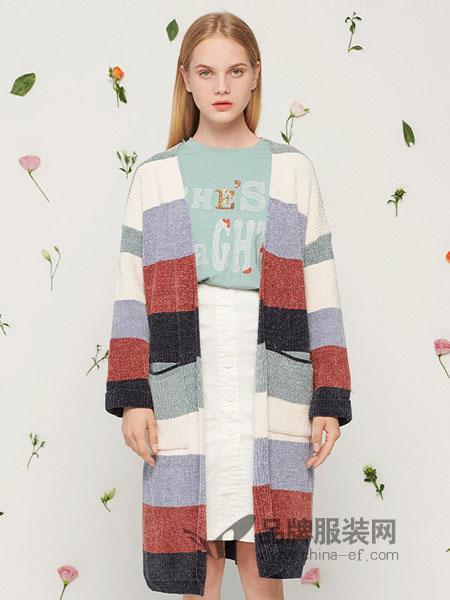 森林鸟女装2018秋冬新款韩版毛衣外套落肩袖宽松针织衫开衫