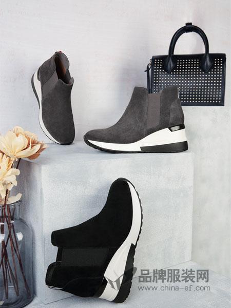 圣恩熙鞋帽/领带高跟磨砂羊皮纯皮裸靴 超高跟时尚大气短靴