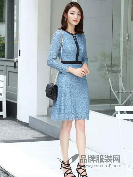 爱为 AIWEI女装2018秋季新款修身典雅高档个性时尚连衣裙